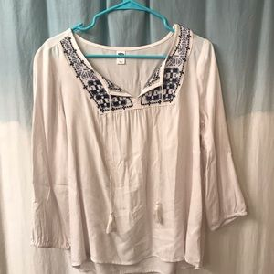 Old navy embroidered peasant top